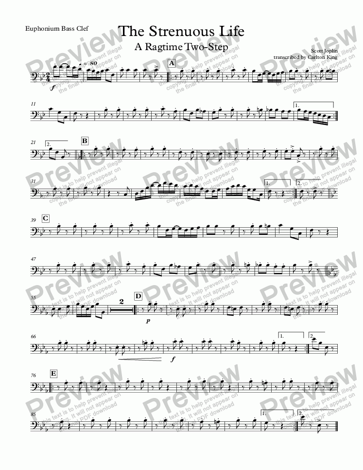 page one of the Euphonium Bass Clef part from The Strenuous Life: A Ragtime Two Step (10-piece)