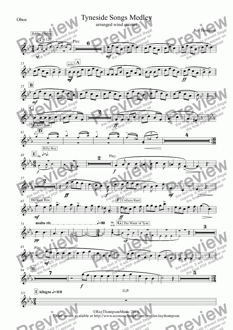 page one of the Oboe part from Tyneside Songs Medley (includes Bobby Shaftoe, The Keel Row and The Blaydon Races) arranged wind quintet