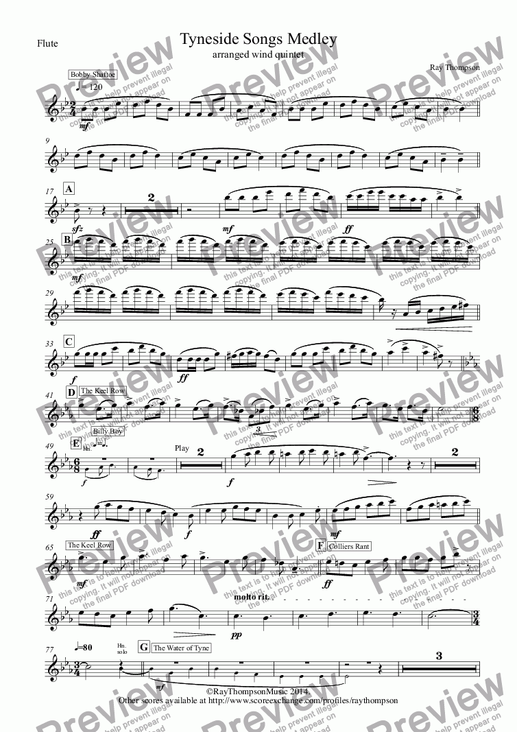 page one of the Flute part from Tyneside Songs Medley (includes Bobby Shaftoe, The Keel Row and The Blaydon Races) arranged wind quintet