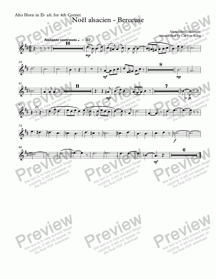 page one of the Alto Horn in Eb alt. for 4th Cornet part from Noël alsacien (10-piece)