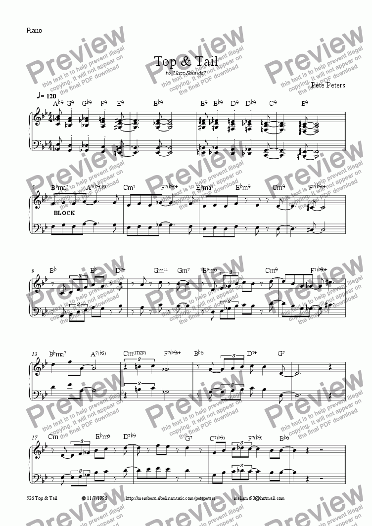 page one of the Piano part from Top & Tail [Jazz 5pce]