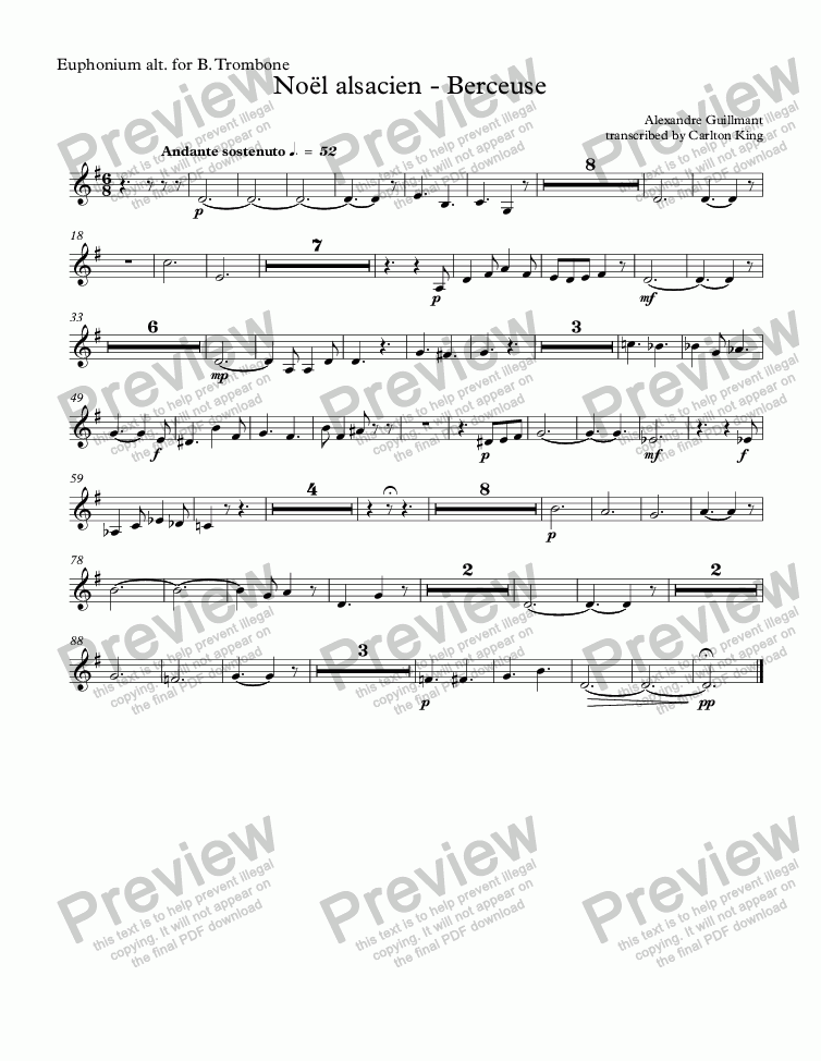 page one of the Euphonium alt. for B. Trombone part from Noël alsacien (10-piece)
