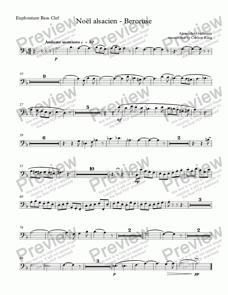 page one of the Euphonium Bass Clef part from Noël alsacien (10-piece)