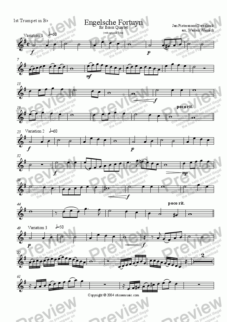 page one of the Engelsche Fortuyn 1. Trumpet 1 in B-flat part from Engelsche Fortuyn (3 Variations for Brass Quartet)