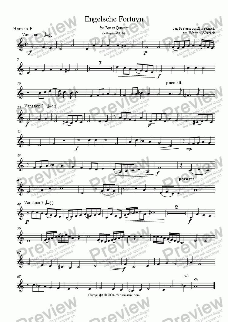 page one of the Engelsche Fortuyn 3. Horn in F part from Engelsche Fortuyn (3 Variations for Brass Quartet)