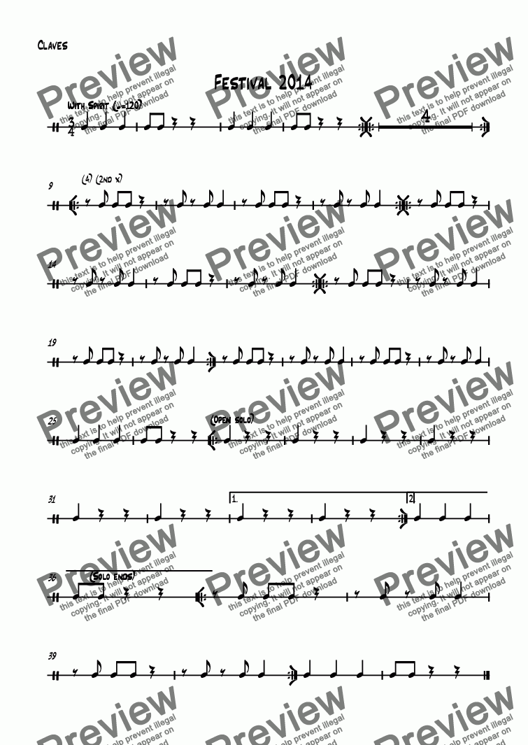 page one of the Claves part from Festival 2014