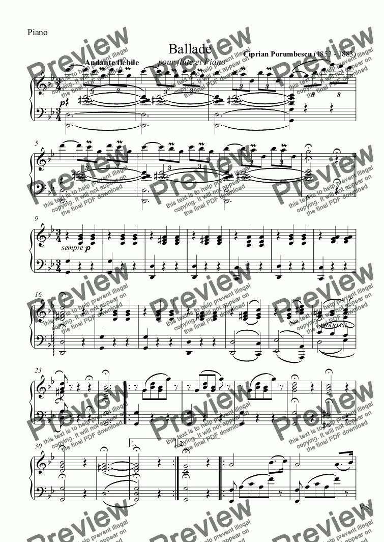 page one of the Piano part from Ballade