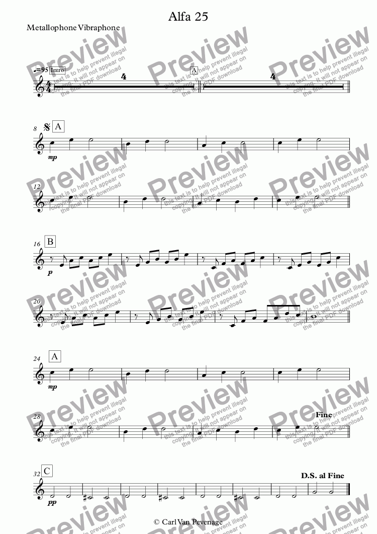 page one of the Metallophone Vibraphone part from Alfa 25 - Orff Ensemble (Kinderdans)