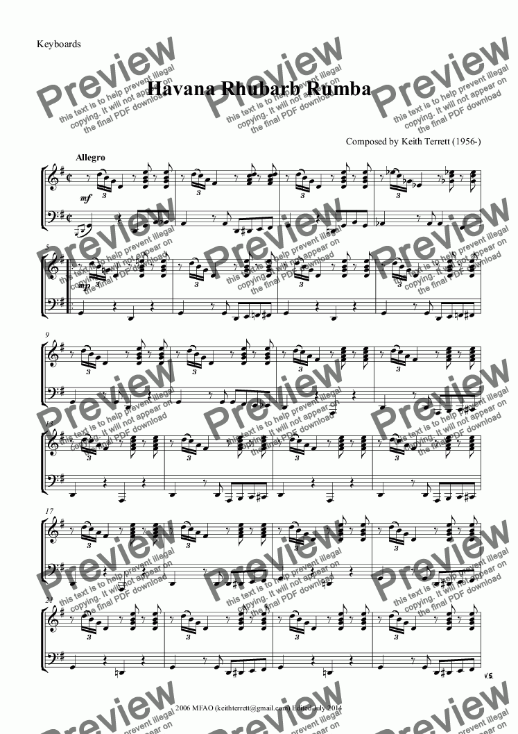 page one of the Keyboards part from Havana Rhubarb Rumba for two Oboes & Piano
