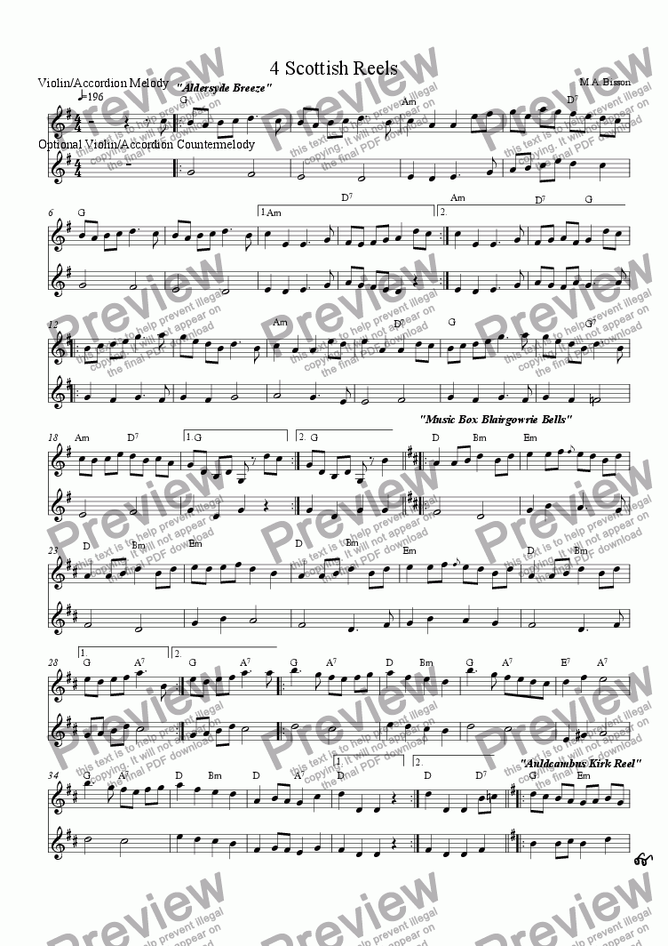 page one of the Lead Sheet (Melody, Countermelody and chord symbols) part from 4 Scottish Reels for Ceilidh or Celtic Group