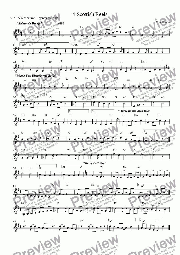 page one of the  Optional, easier, Counter melody (and Chord symbols) part from 4 Scottish Reels for Ceilidh or Celtic Group