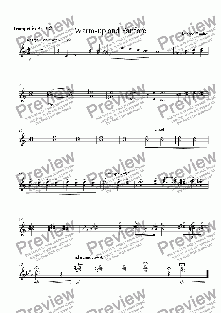 page one of the Trumpet 1,2 part from Warm-up and Fanfare