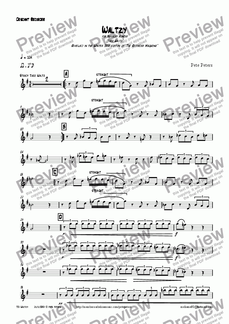 page one of the Recorder or Flute part from Waltzy [Jazz flute or recorder]