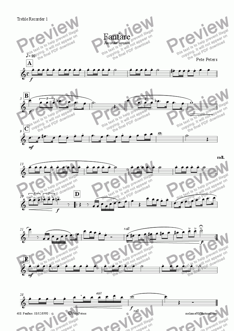 page one of the Treble Recorder 1 part from Fanfare [Flute or Recorder version]