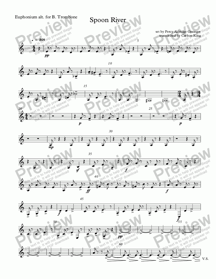 page one of the Euphonium alt. for B. Trombone part from Spoon River (10-piece)