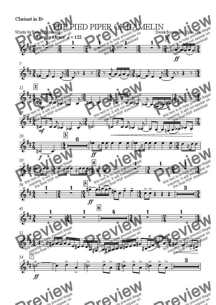 page one of the Clarinet in B flat part from The Pied Piper of Hamelin (Orchestral Version)
