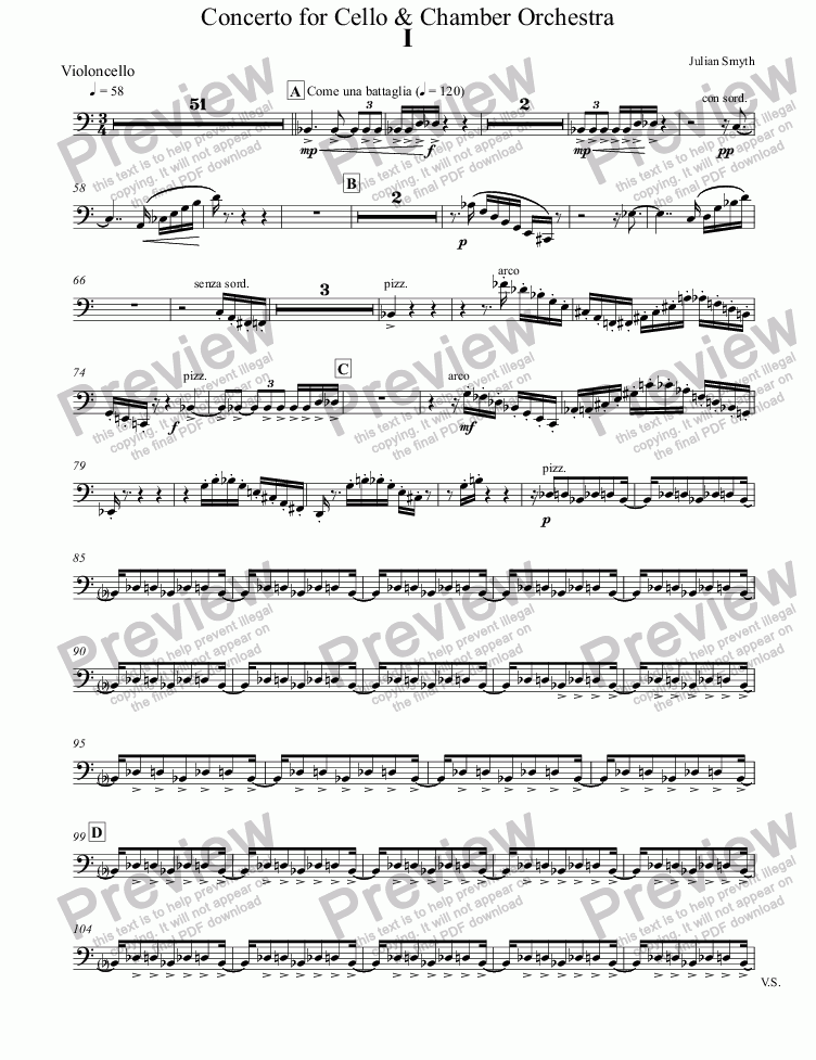 page one of the Violoncello part from Concerto for Cello & Chamber Orchestra