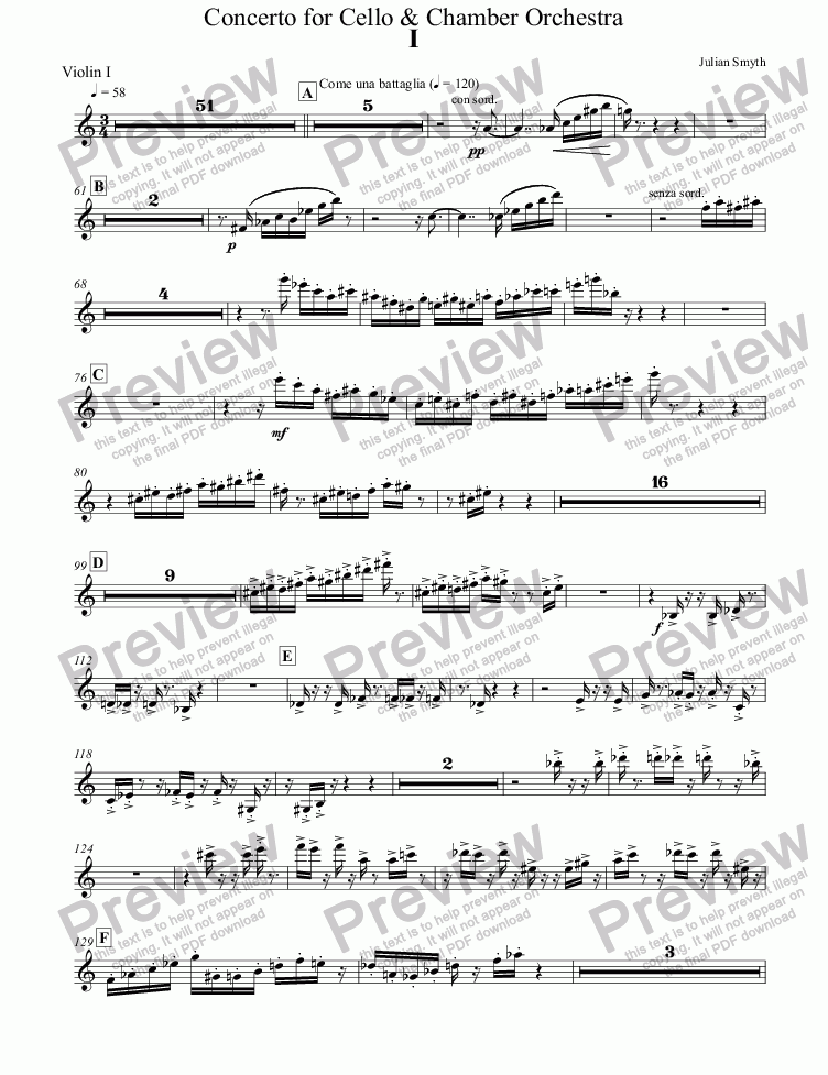 page one of the Violin I part from Concerto for Cello & Chamber Orchestra