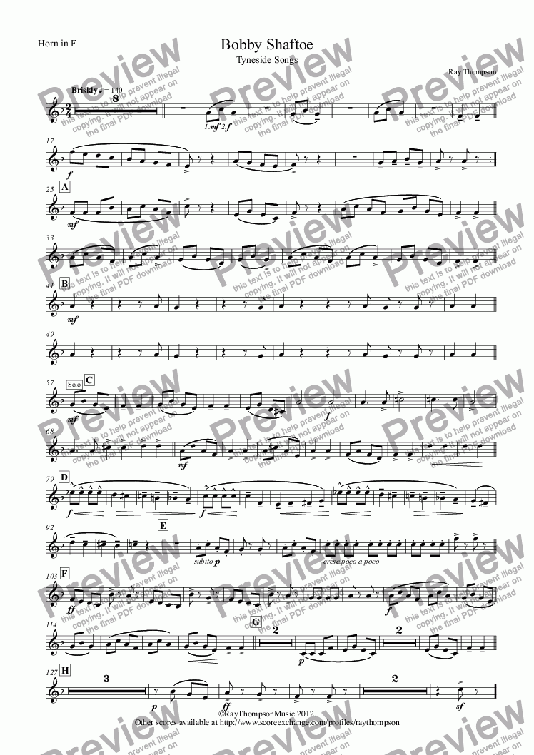 page one of the Horn in F part from Tyneside Songs Suite: Bobby Shaftoe (arr.wind quintet)