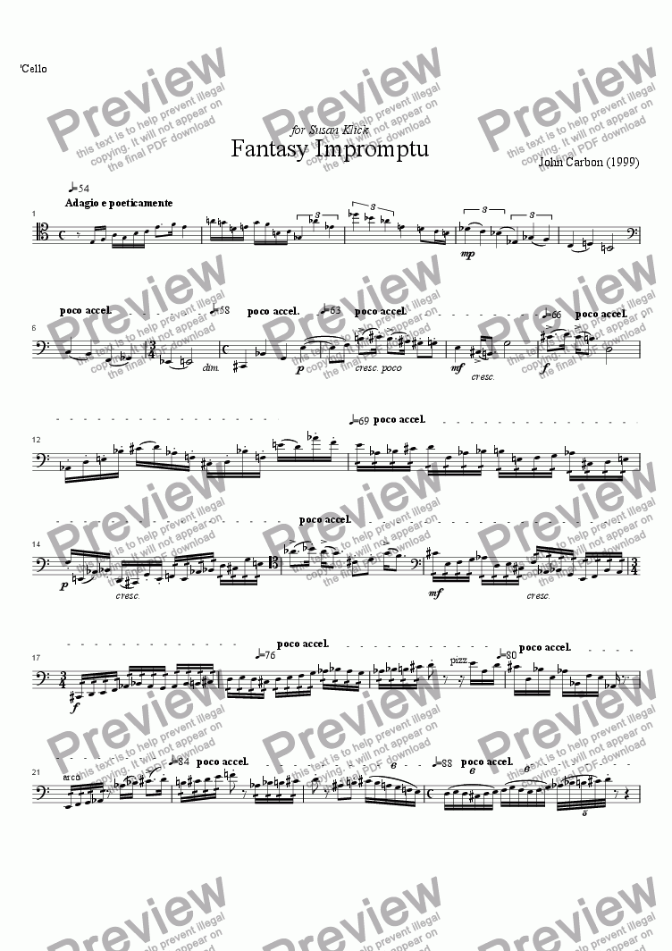 page one of the cello part from Fantasy Impromptu for flute, cello and piano