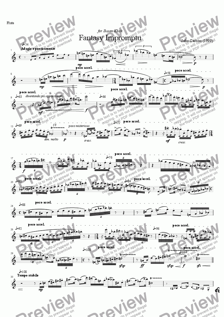 page one of the flute part from Fantasy Impromptu for flute, cello and piano