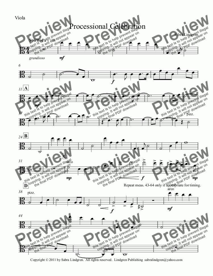 page one of the Viola part from Wedding or Graduation: Processional Celebration