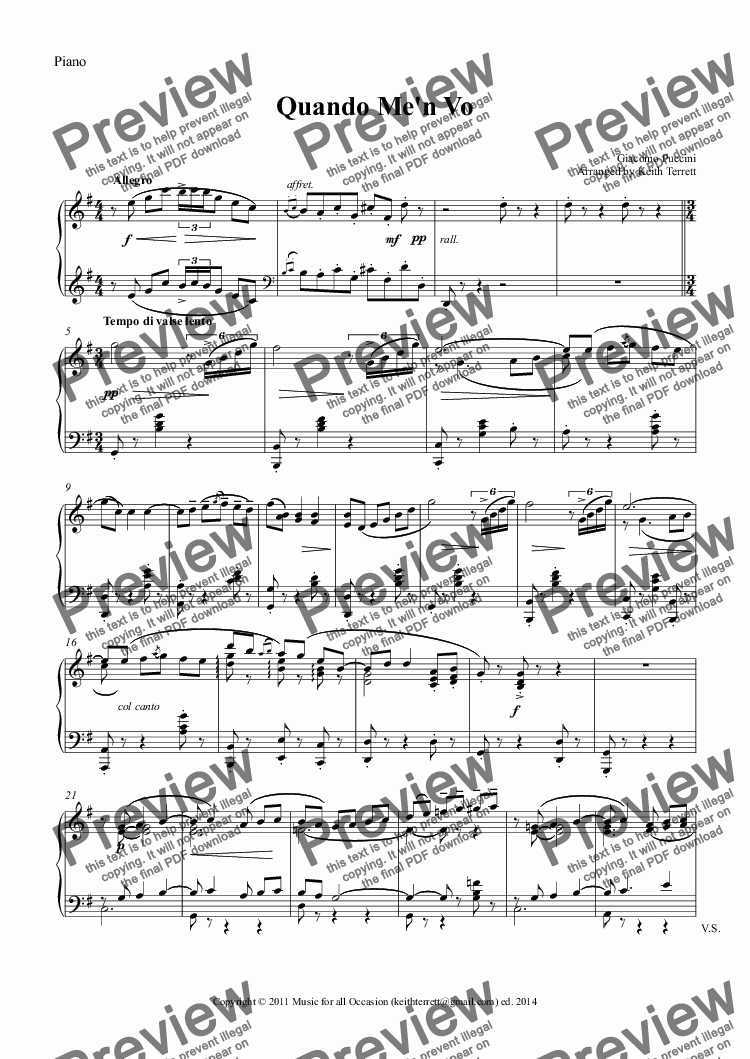 page one of the Piano part from Quando me'n vo for Violin & Piano