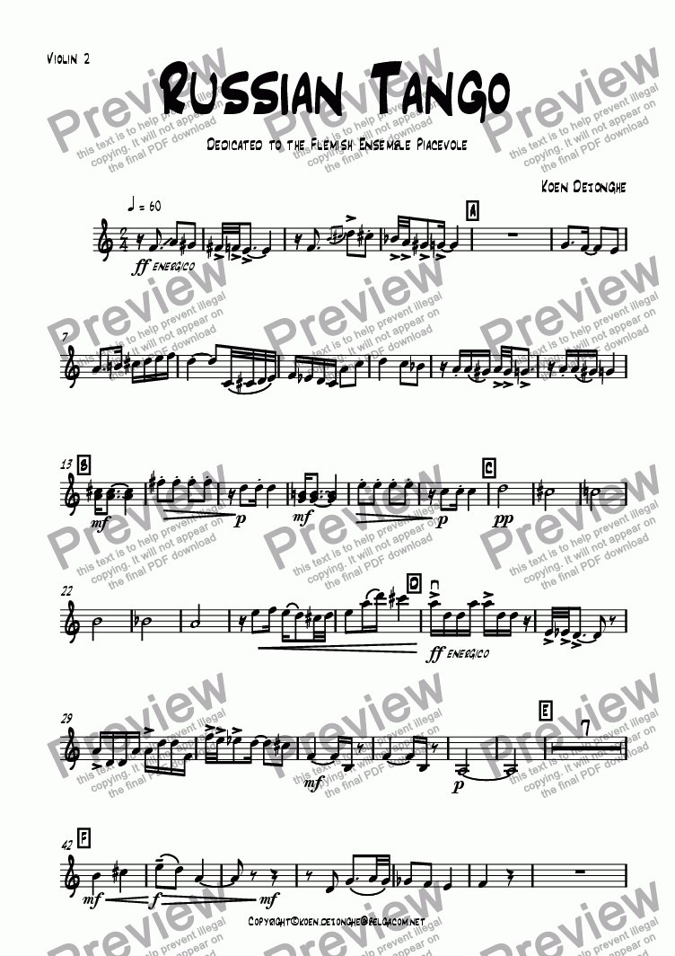 "page one of the Violin 2 part from ""A Russian Tango"" for Stringquartet"