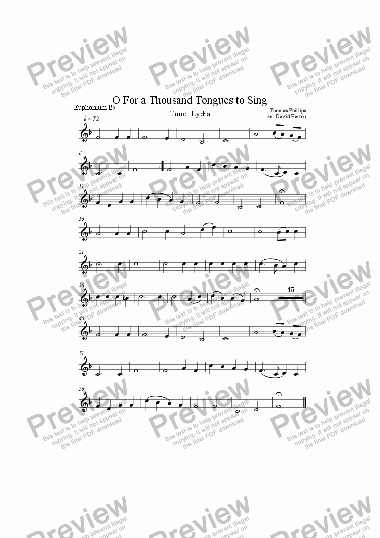 "page one of the Euphonium-A5 part from ""O For a Thousand Tongues to Sing"" to ""Lydia"" for Brass Band"