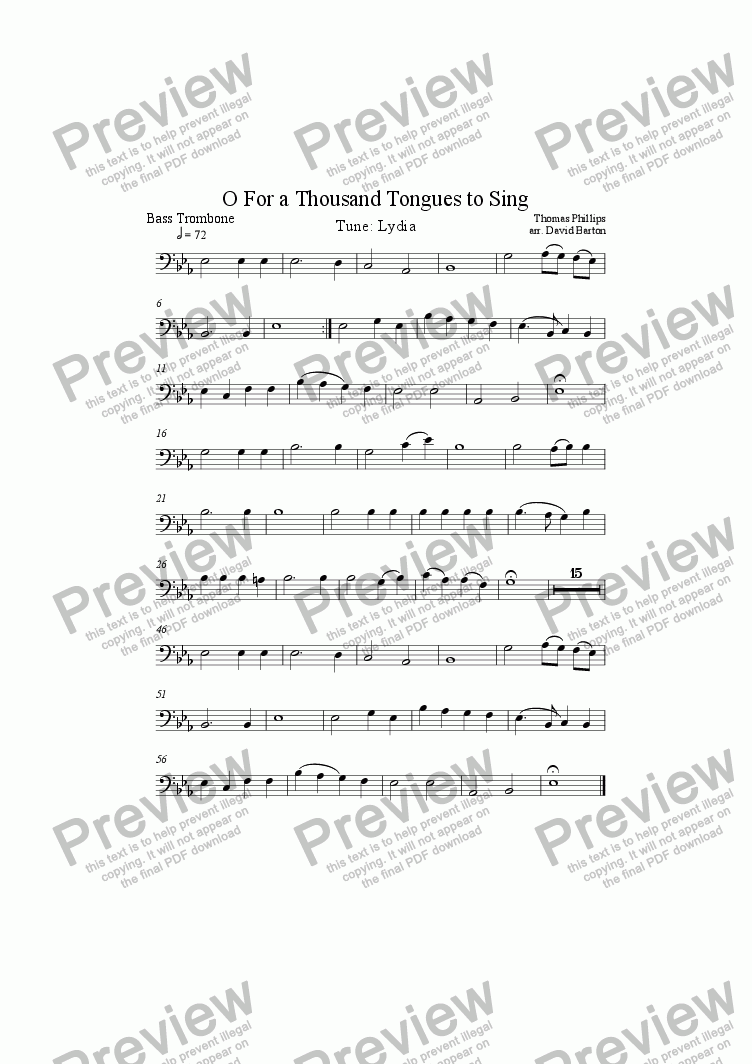 "page one of the Bass Trombone-A5 part from ""O For a Thousand Tongues to Sing"" to ""Lydia"" for Brass Band"