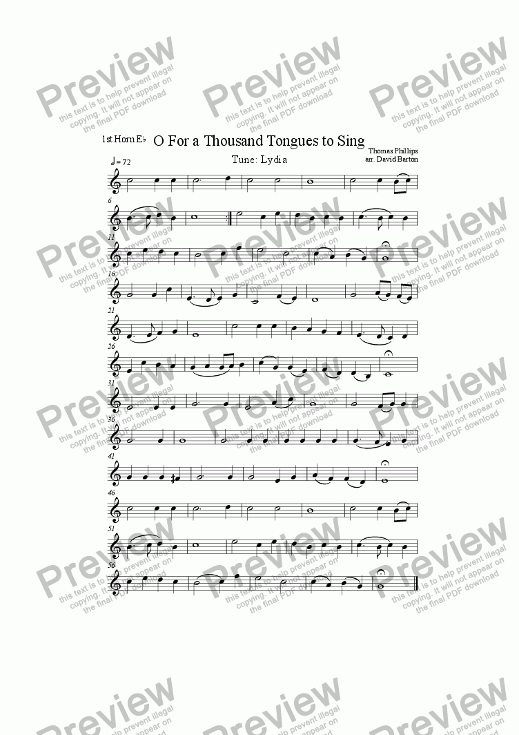 "page one of the 1st Tenor Horn-A5 part from ""O For a Thousand Tongues to Sing"" to ""Lydia"" for Brass Band"