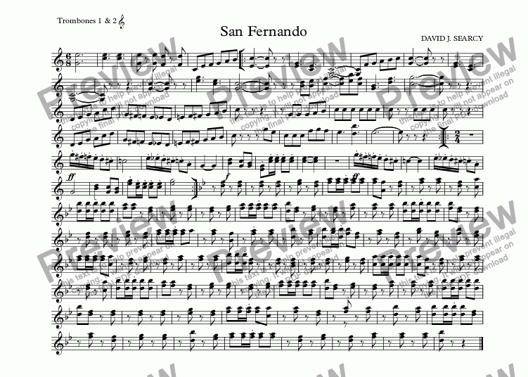 page one of the Trombones 1 & 2  part from San Fernando