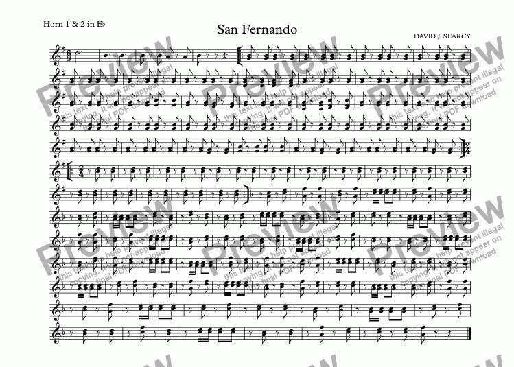 page one of the Horn 1 & 2 in E^b part from San Fernando