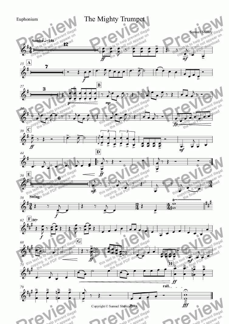 page one of the Euphonium part from The Mighty Trumpet