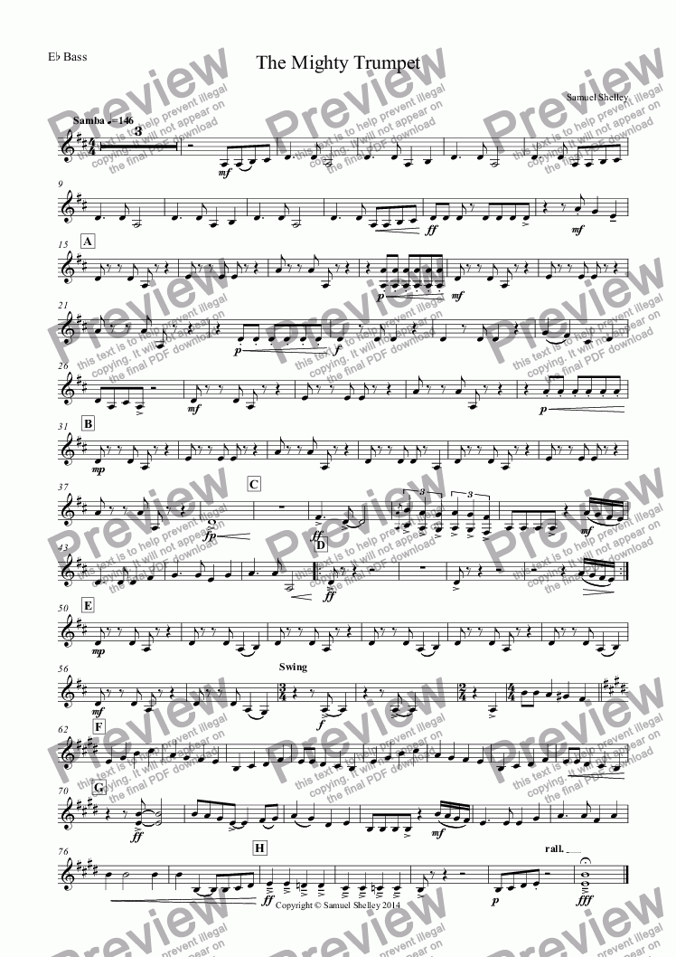 page one of the E^b Bass part from The Mighty Trumpet