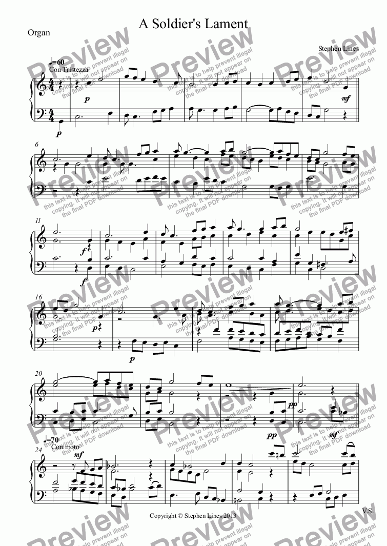 page one of the Organ part from Organ: A Soldier's Lament