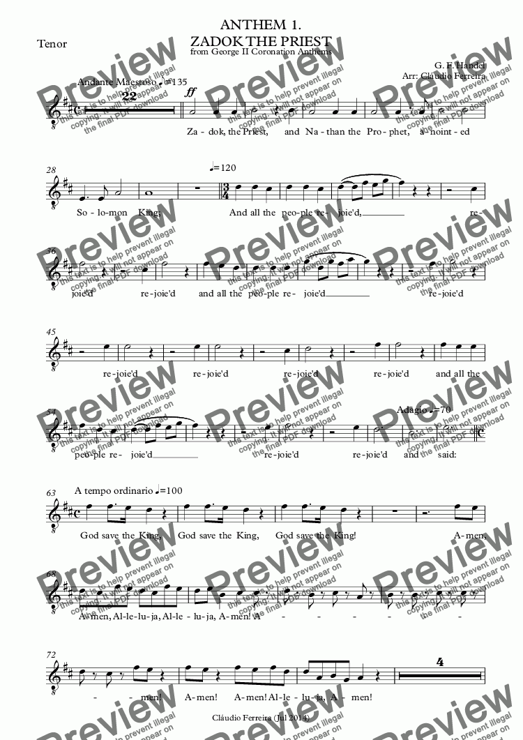 page one of the Tenor part from ANTHEM 1. ZADOK THE PRIEST