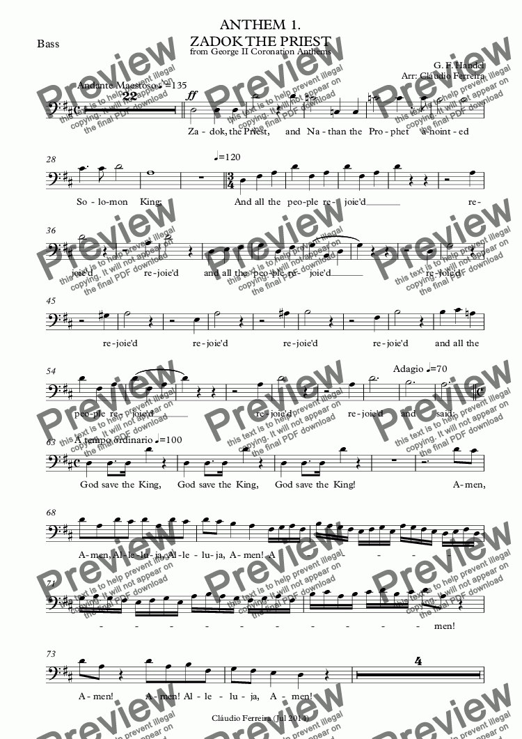 page one of the Bass part from ANTHEM 1. ZADOK THE PRIEST