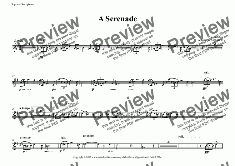 page one of the Soprano Saxophone part from A Serenade for Soprano Saxophone & Keyboard