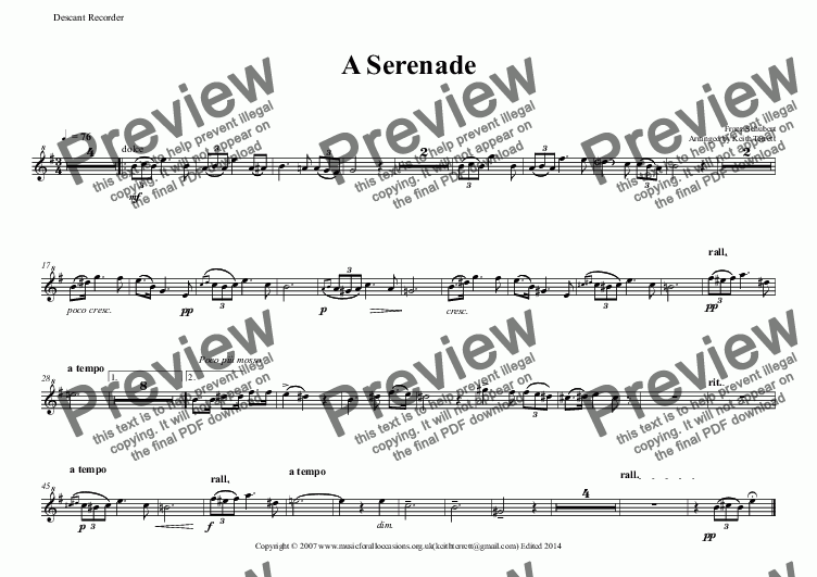 page one of the Descant Recorder part from A Serenade for Descant Recorder & Keyboard
