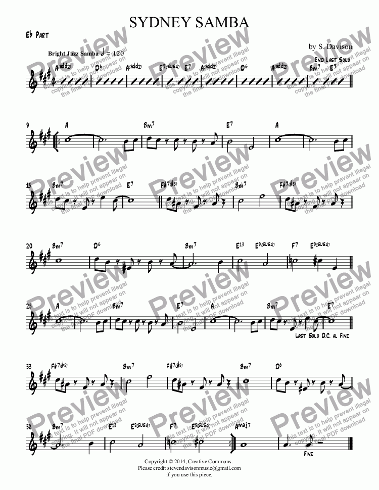 page one of the E^b Part part from Sydney Samba