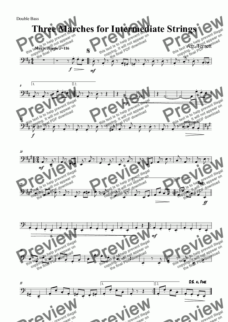 page one of the Double Bass part from Three Marches for Intermediate Strings & percussion