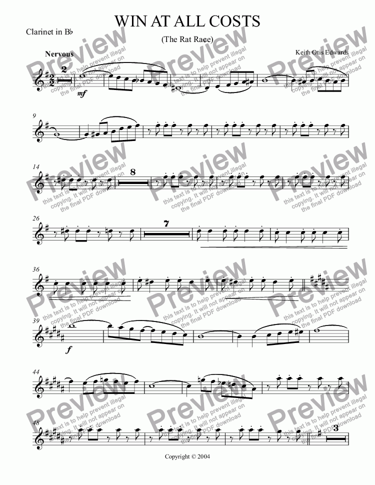 page one of the Clarinet part from Win at All Costs