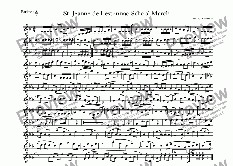 page one of the Baritone  part from St. Jeanne de Lestonnac School March