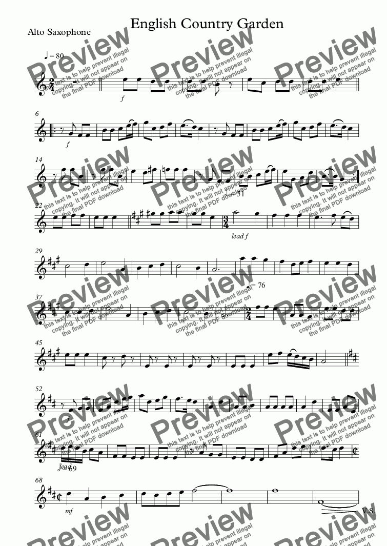 page one of the Alto Saxophone part from English Country Garden