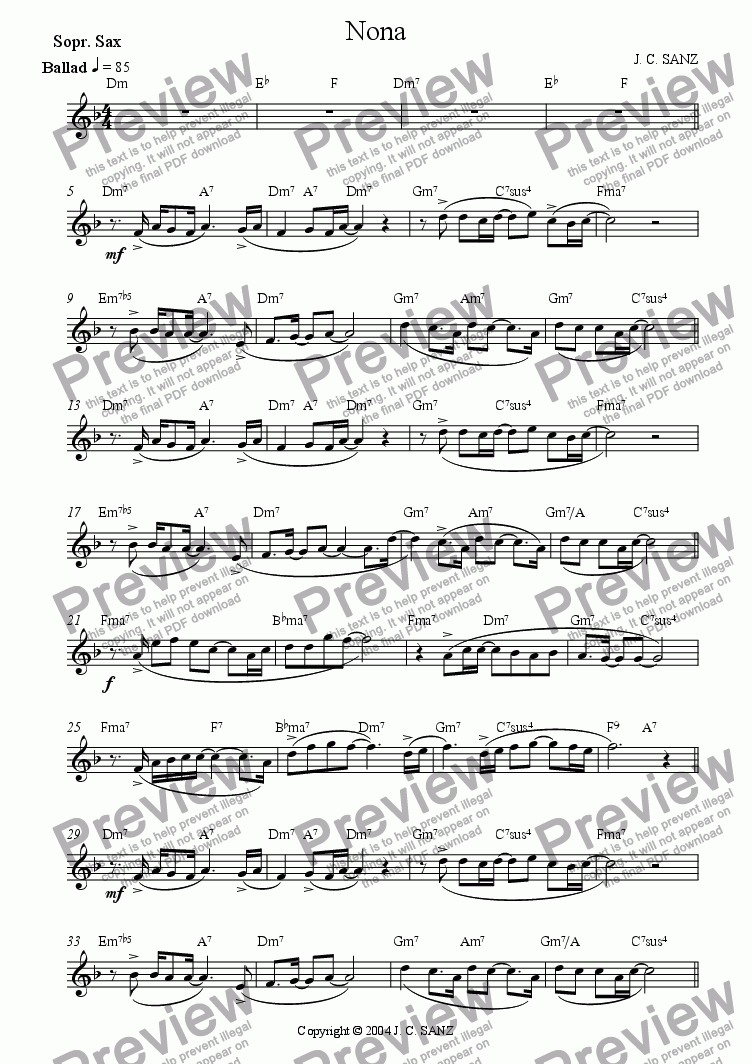 page one of the Soprano Sax part from Nona