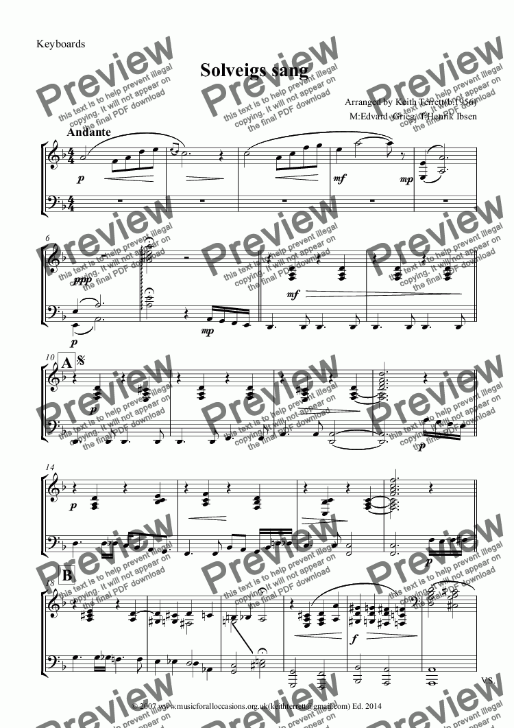 page one of the Keyboards part from Solveigs sang for Oboe & Keyboard