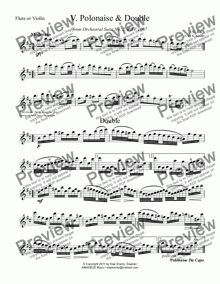 page one of the Flute or violin part from Polonaise, Menuet and Badinerie for flute or violin and piano
