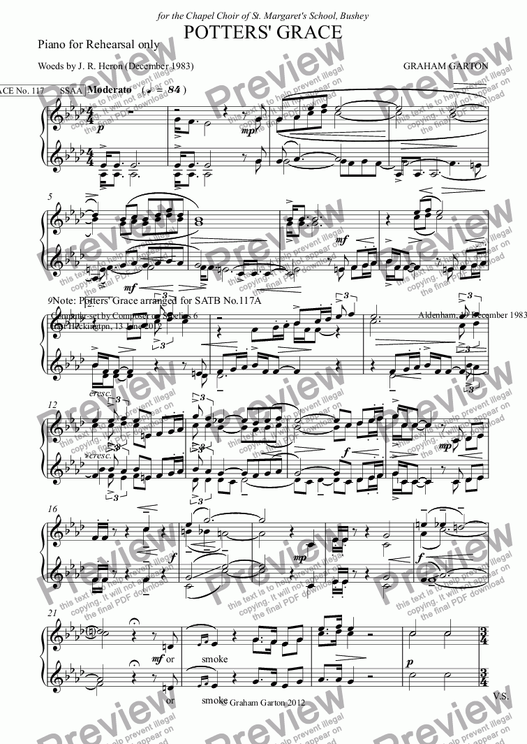 page one of the Piano for Rehearsal only part from GRACE - No.117 of 252 GARTON GRACES Mainly for  Female Voices but sometimes Mixed. 'POTTERS' GRACE' for SSAA a cappella