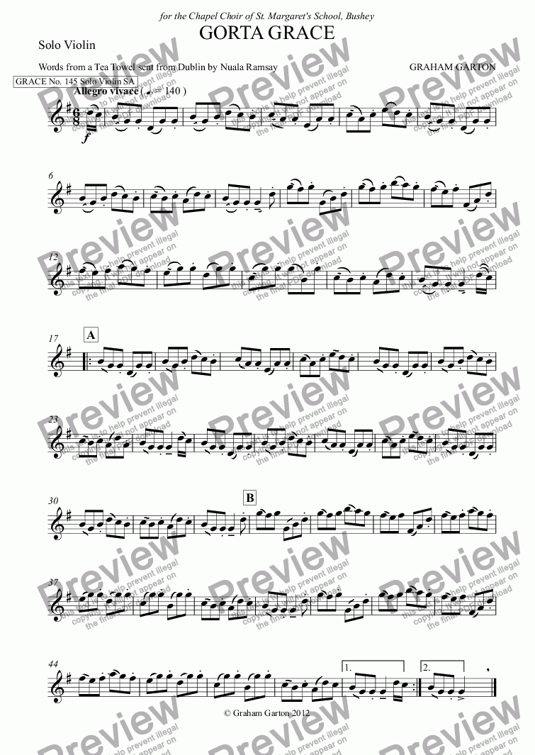 page one of the Solo Violin part from GRACE - No.145 of 252 GARTON GRACES Mainly for  Female Voices but sometimes Mixed. 'GORTA GRACE' for Solo Violin and SA a cappella